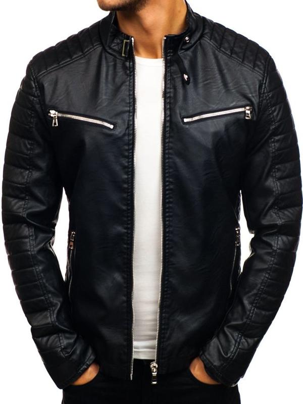 Čierna pánska bunda z eko-kože BOLF 9111