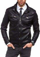 Čierna pánska bunda z ekokože BOLF 278