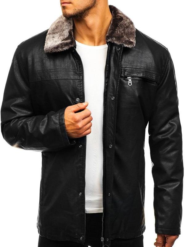 Čierna pánska bunda z ekokože BOLF 293