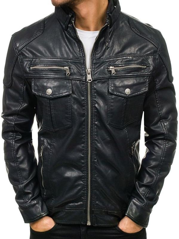 Čierna pánska bunda z ekokože BOLF 3051