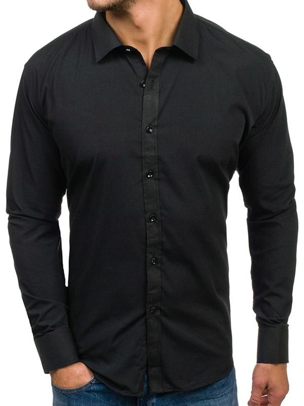 Čierna pánska elegantá košeľa s dlhými rukávmi BOLF 001