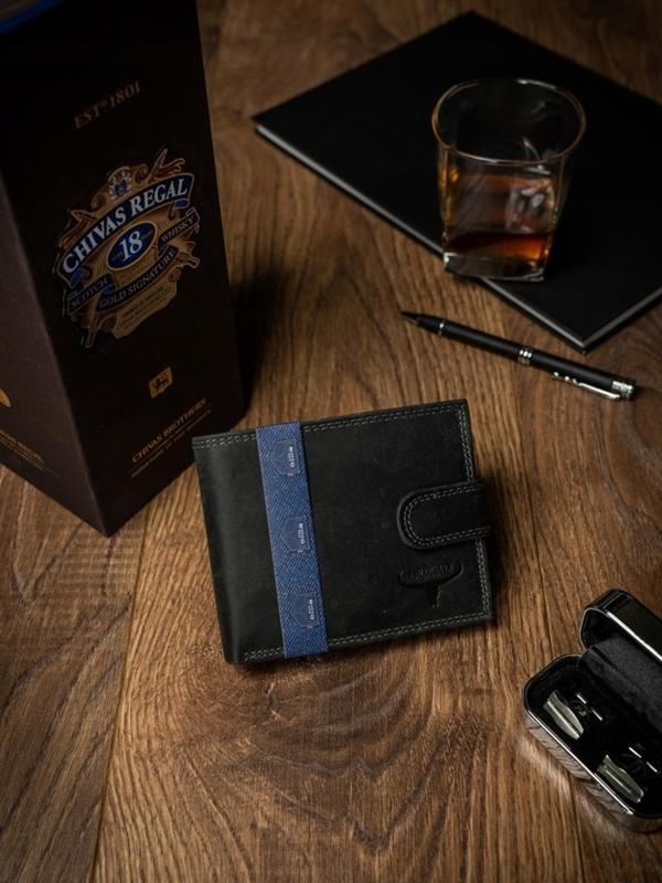 Čierna pánska kožená peňaženka 2227
