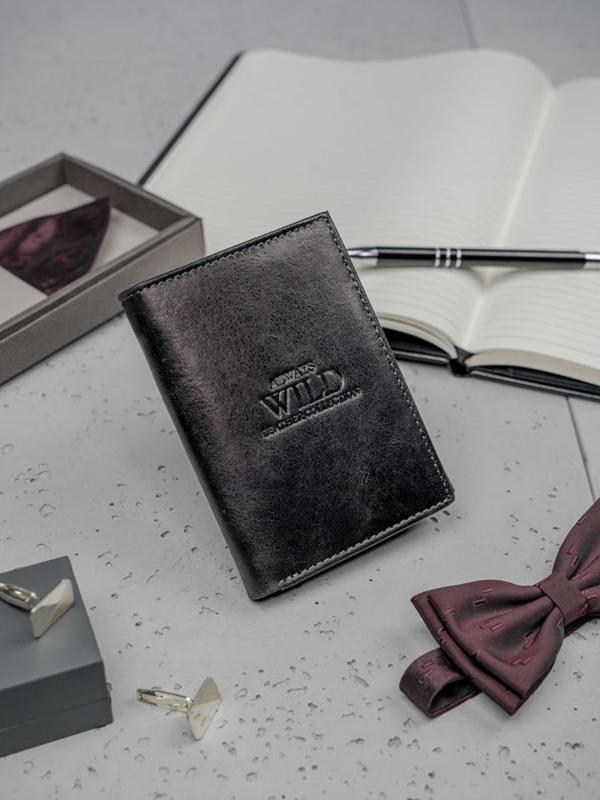 Čierna pánska kožená peňaženka 3137