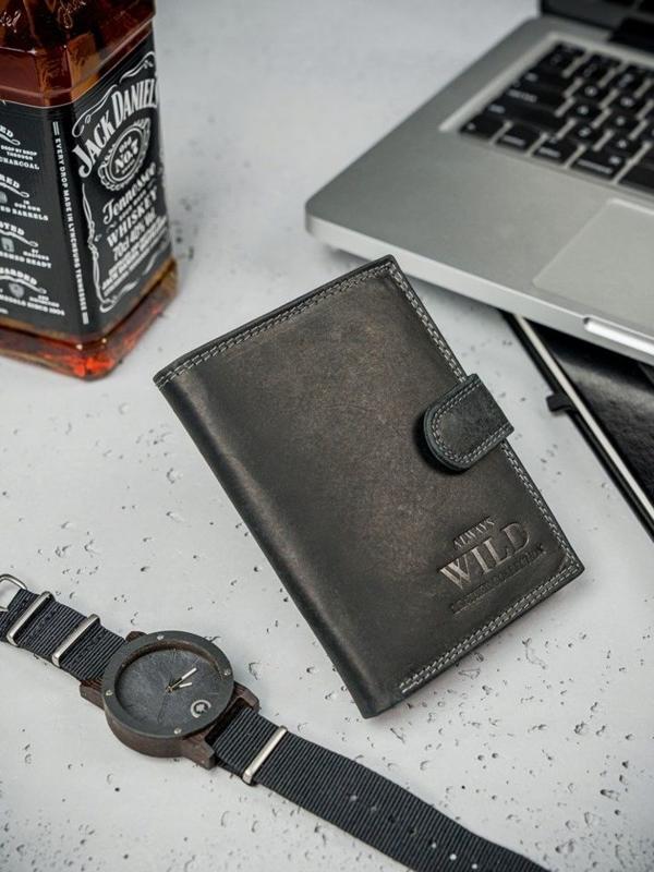 Čierna pánska kožená peňaženka  3174