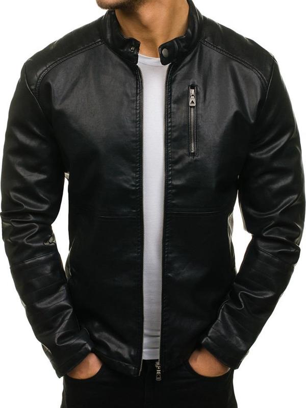 Čierna pánska koženková bunda BOLF 5009
