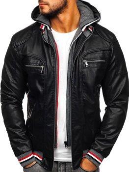 Čierna pánska koženková bunda Bolf 1103