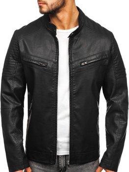 Čierna pánska koženková bunda Bolf  1125