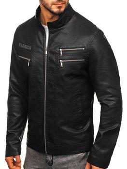 Čierna pánska koženková bunda Bolf  1126