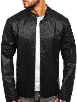 Čierna pánska koženková bunda Bolf  1128