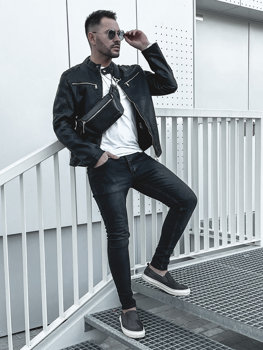 Čierna pánska koženková bunda Bolf  1129
