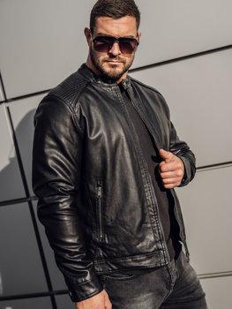 Čierna pánska koženková bunda Bolf 92532