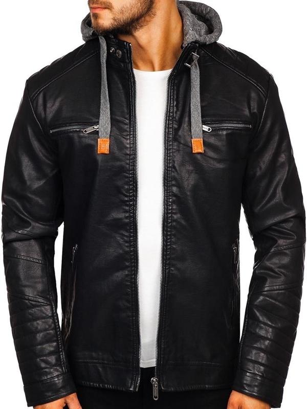 Čierna pánska koženková bunda Bolf EX702