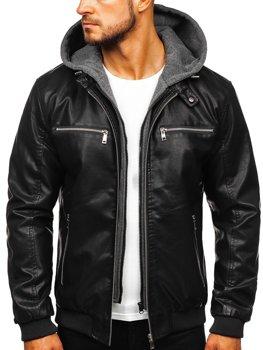 Čierna pánska koženková bunda s kapucňou Bolf  1105