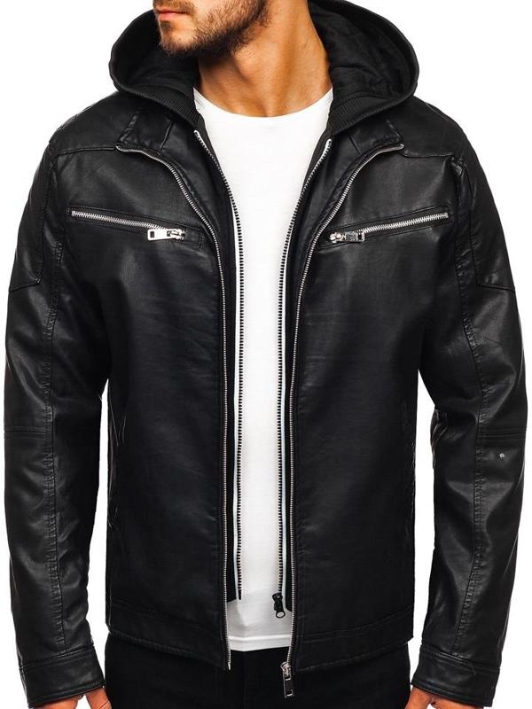 Čierna pánska koženková bunda s kapucňou Bolf 5809