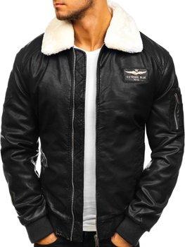 Čierna pánska letecká koženková bunda BOLF EX837