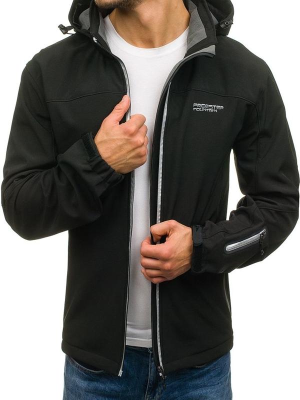 Čierna pánska sofshellová prechodná bunda BOLF 3045