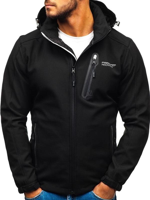 Čierna pánska softshellová bunda BOLF AB95