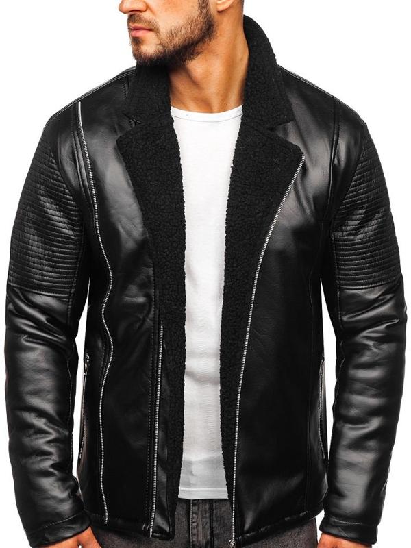 Čierna pánska zateplená koženková bunda Bolf 5494