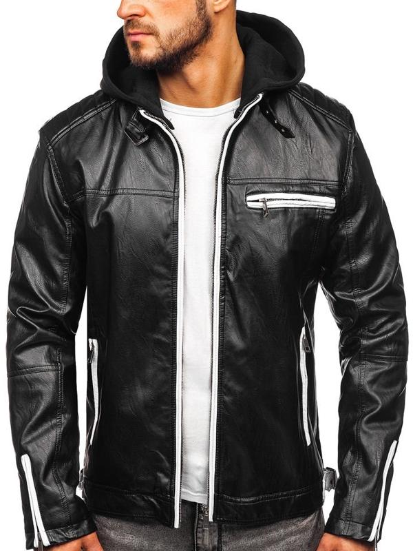 Čierna pánska zateplená koženková bunda Bolf 5588