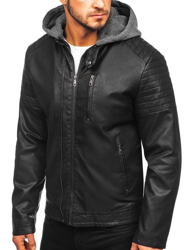 Čierna pánska zateplená koženková bunda s kapucňou Bolf 92543