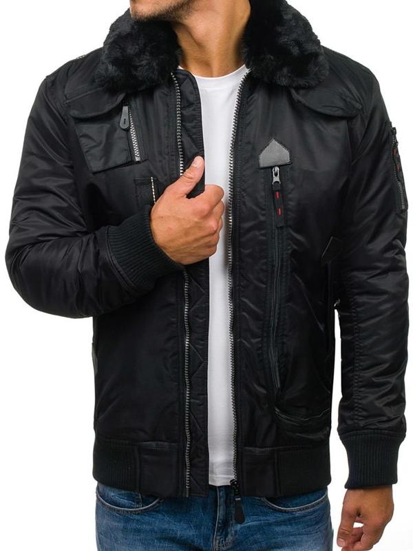 Čierna pánska zimná letecká bunda BOLF 3095