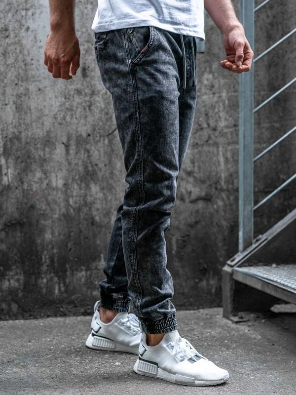 Čierne pánske rifľové joggery Bolf  KA1007