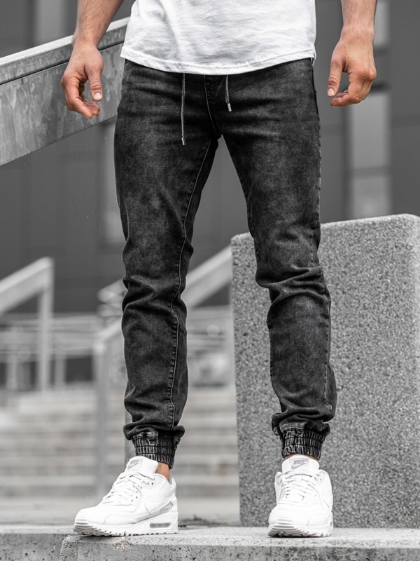 Čierne pánske rifľové joggery Bolf  KA1082