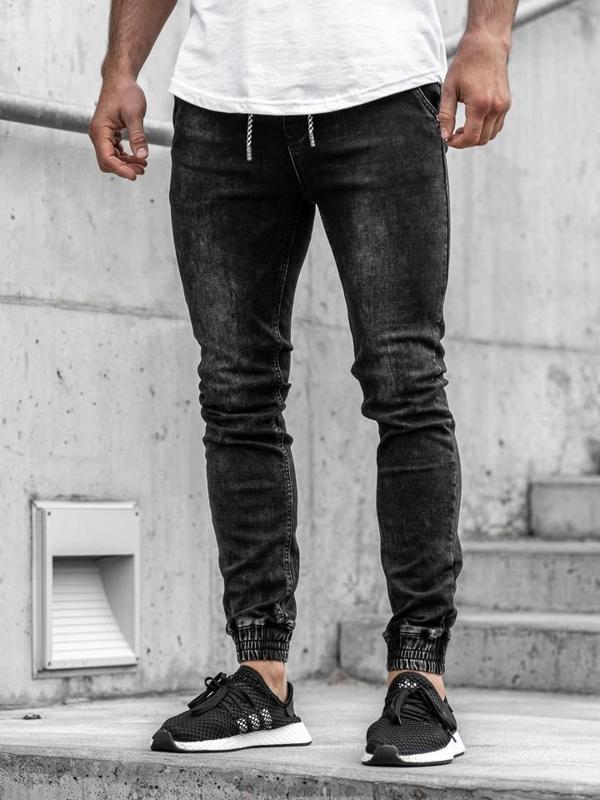 Čierne pánske rifľové joggery Bolf  KA1090