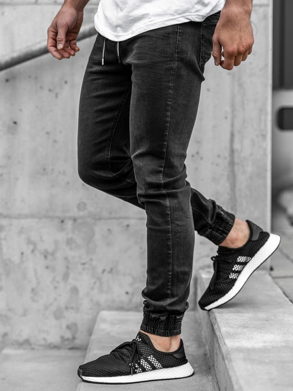 Čierne pánske rifľové joggery Bolf  KA1105