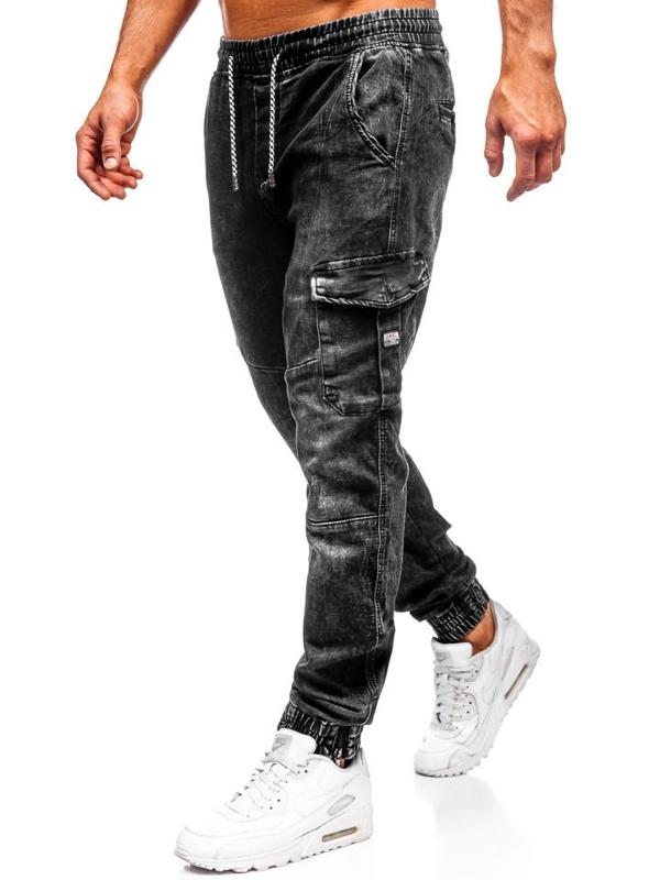 Čierne pánske rifľové joggery Bolf  KA686-4