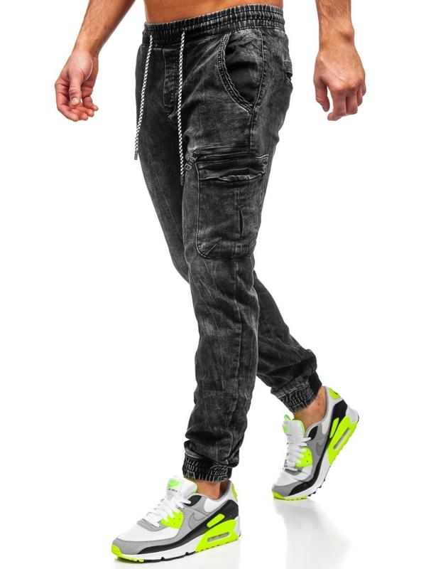 Čierne pánske rifľové joggery Bolf   KA687-2