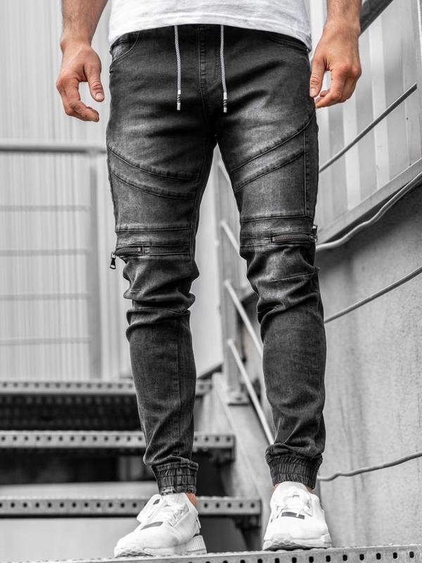 Čierne pánske rifľové joggery Bolf  KA763