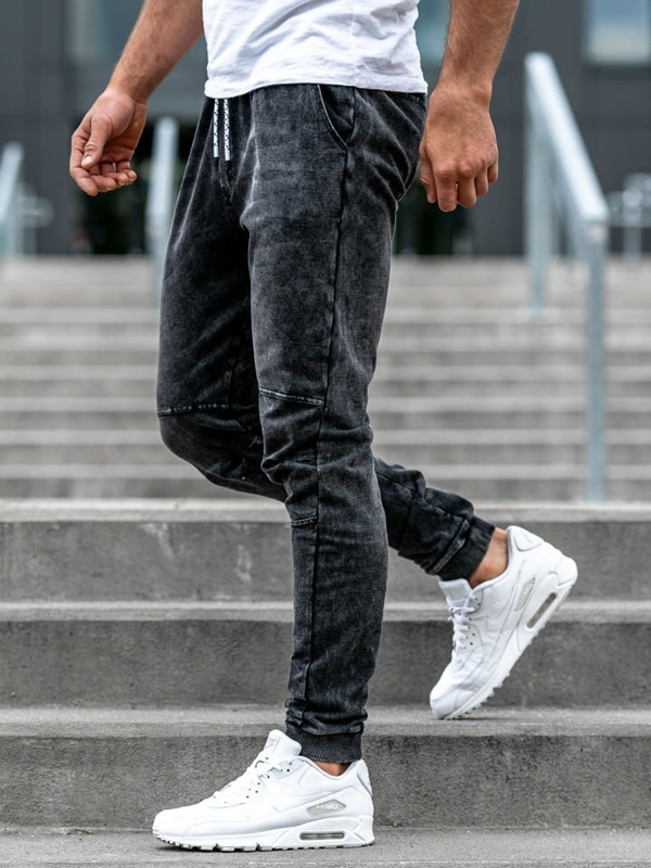 Čierne pánske rifľové joggery Bolf KK1020