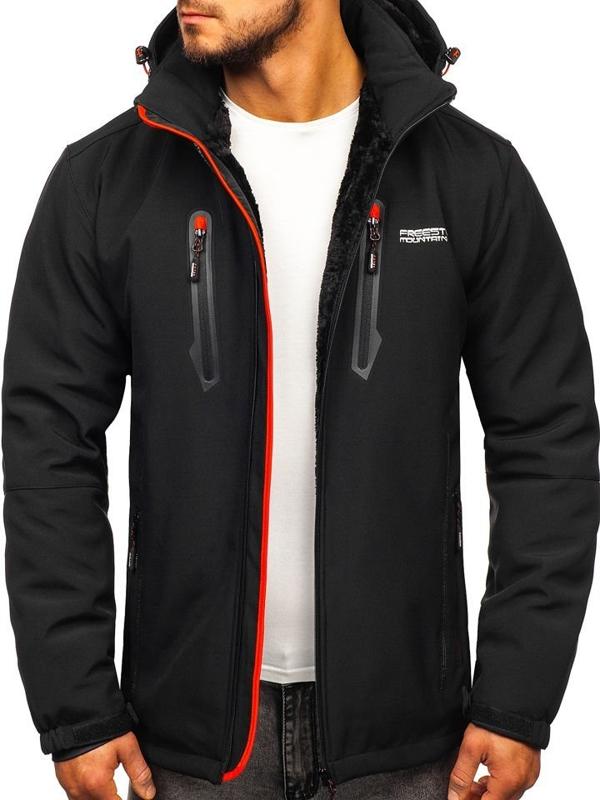 Čierno-červená pánska zateplená softshellová bunda Bolf BK061
