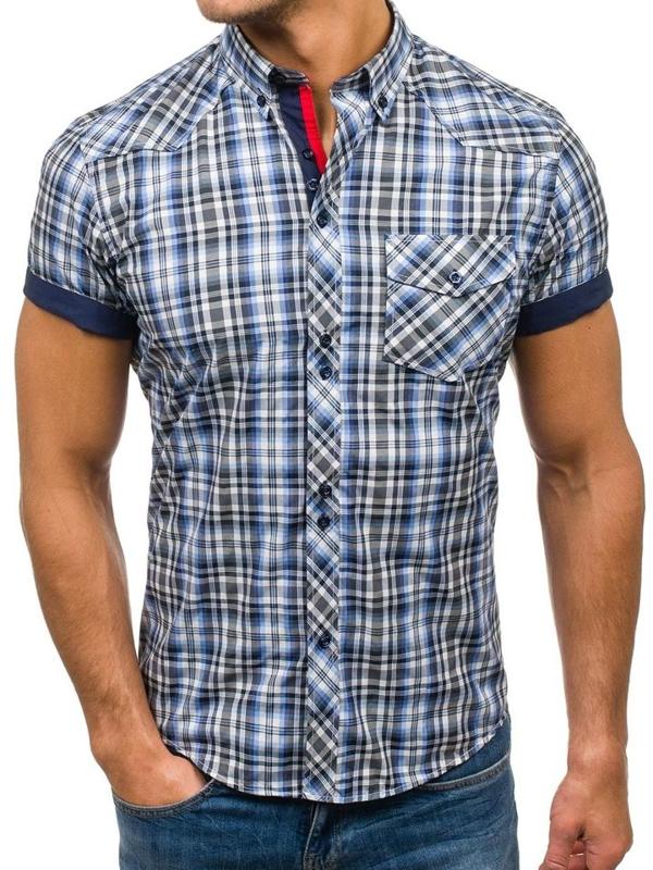 Čierno-modrá pánska kockovaná košeľa s krátkymi rukávmi BOLF 5206
