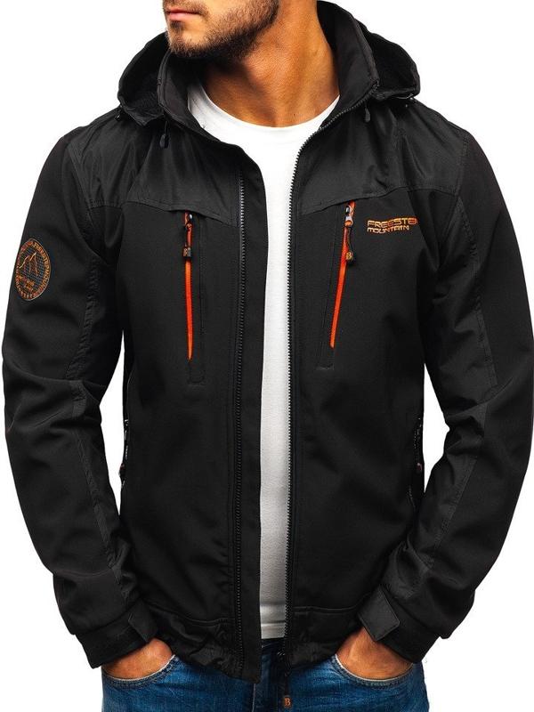 Čierno-oranžová pánska softshellová bunda BOLF P185