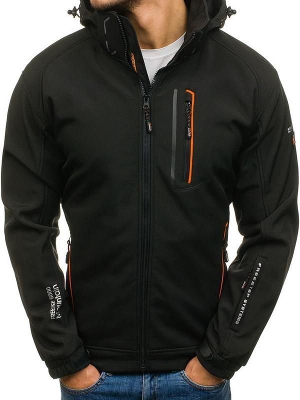 Čierno-oranžová pánska softshellová prechodná bunda BOLF 6602