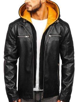 Čierno-žltá pánska koženková bunda s kapucňou Bolf 6131