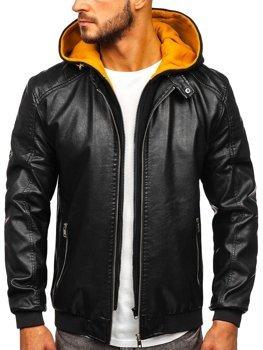 Čierno-žltá pánska koženková bunda s kapucňou Bolf  6132