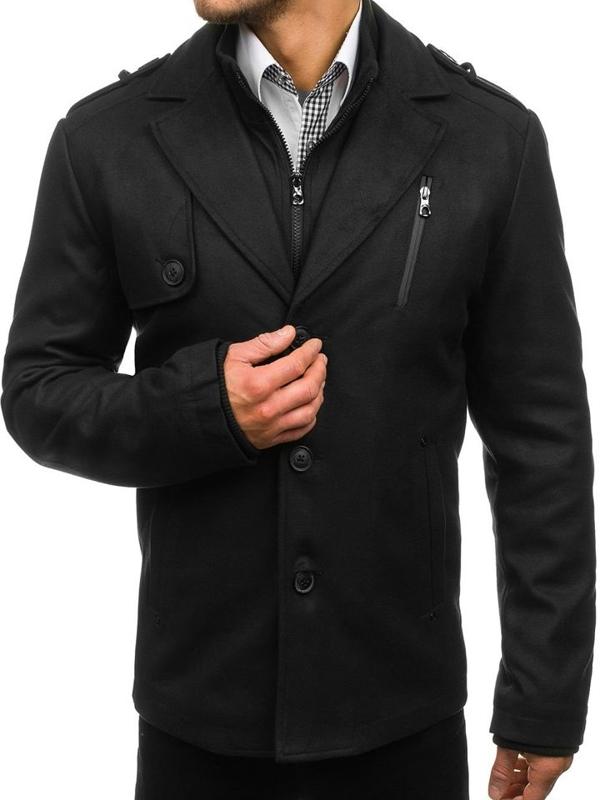 Čierny pánsky zimný kabát BOLF 3131