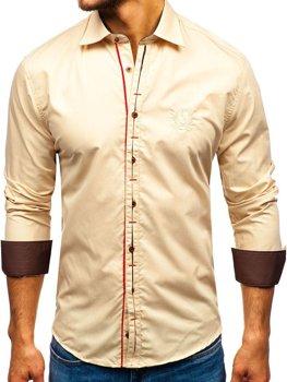 Kamelová pánska elegantá košeľa s dlhými rukávmi BOLF 1769