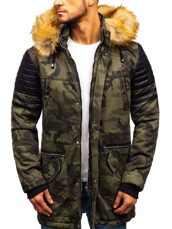 Maskáčovo-khaki pánska zimná bunda parka BOLF 88832