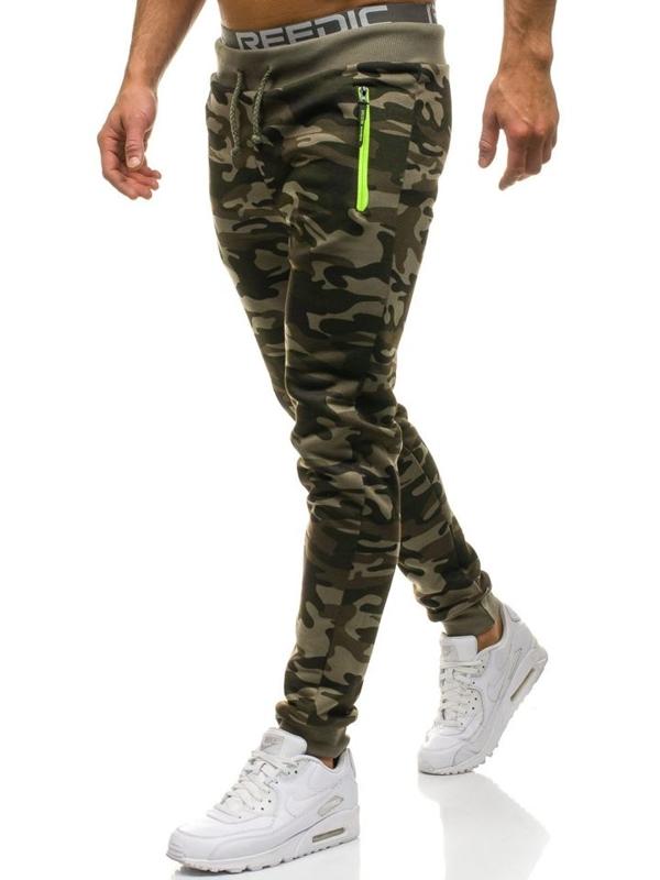 Maskáčovo-zelené pánske teplákové joggery BOLF JX8125