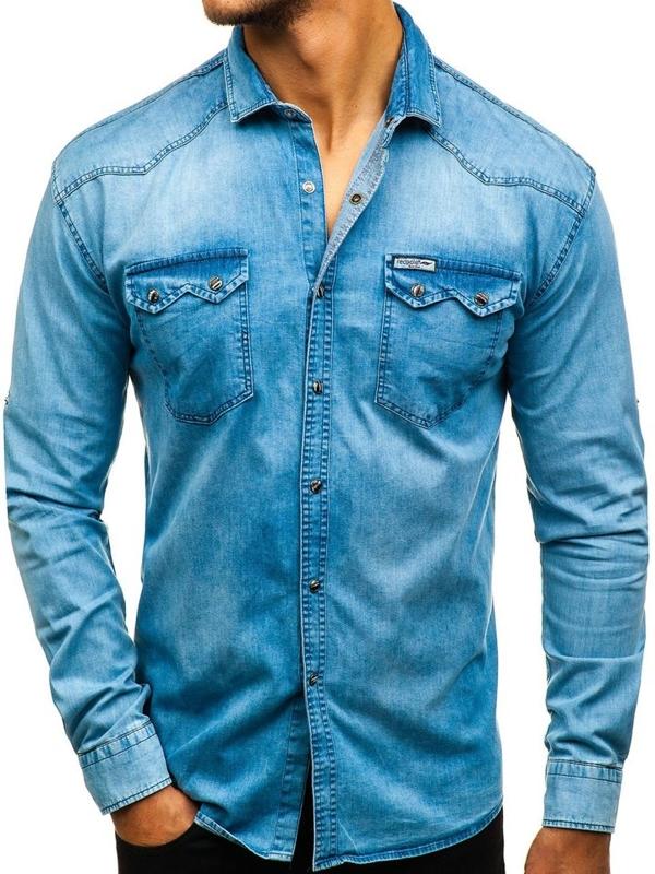 Modrá pánska riflová košeľa s dlhými rukávmi BOLF 2641