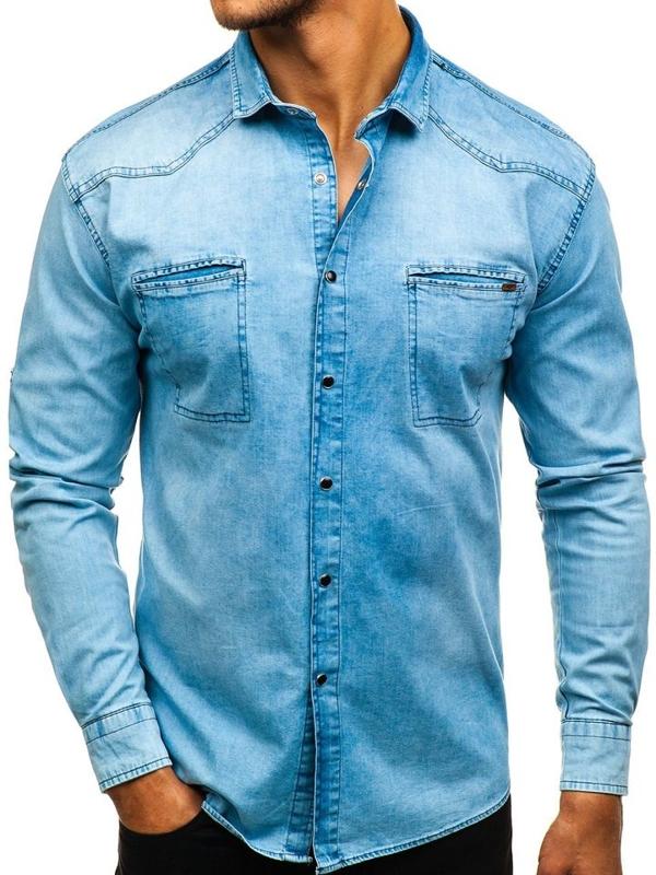 Modrá pánska riflová košeľa s dlhými rukávmi BOLF 2643