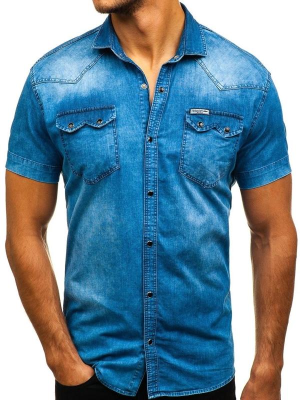 Modrá pánska riflová košeľa s krátkymi rukávmi BOLF 2636