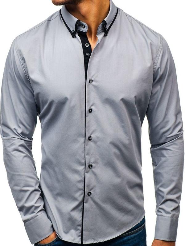 Šedá pánska elegantá košeľa s dlhými rukávmi BOLF 8831