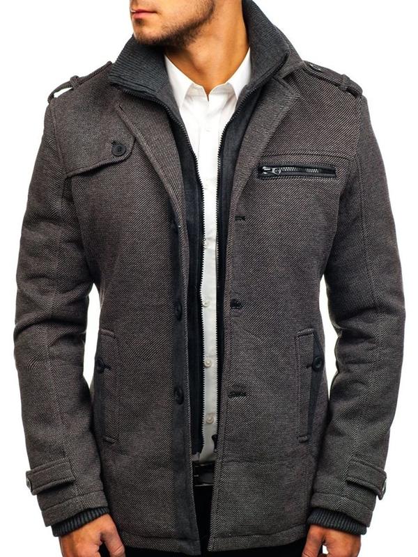 Šedý pánsky zimný kabát BOLF 1809