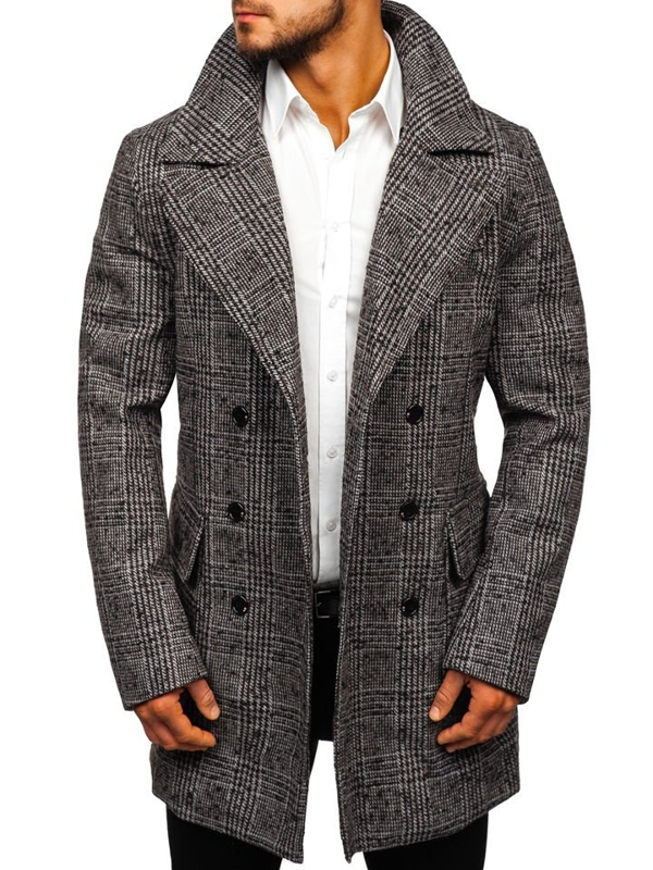 Šedý pánsky zimný kabát Bolf 1118