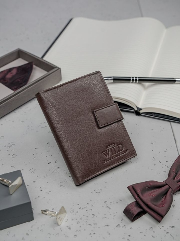 Tmavohedná pánska kožená peňaženka 3143